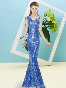 Classical Floor Length Zipper Pageant Dress for Teens Blue for Prom and Party with Sequins