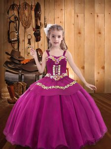 Fuchsia Sleeveless Embroidery and Ruffles Floor Length Little Girls Pageant Dress