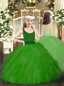 Green Ball Gowns Scoop Sleeveless Tulle Floor Length Zipper Beading and Ruffles Pageant Dress