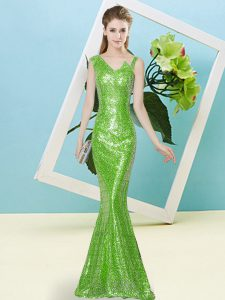 Fancy Floor Length Mermaid Sleeveless Pageant Dresses Zipper