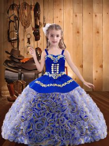 Multi-color Fabric With Rolling Flowers Lace Up Pageant Dress for Teens Sleeveless Floor Length Embroidery and Ruffles