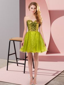 Sequins Winning Pageant Gowns Olive Green Zipper Sleeveless Mini Length