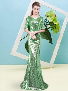 Half Sleeves Floor Length Sequins Zipper Pageant Dress Toddler with Green