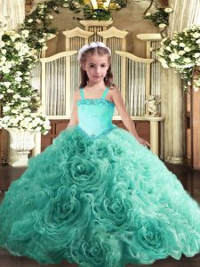 Simple Turquoise Fabric With Rolling Flowers Lace Up Straps Sleeveless Floor Length Little Girls Pageant Dress Appliques