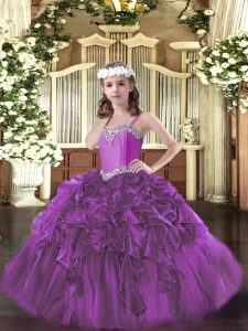 Beauteous Fuchsia Pageant Gowns For Girls Party and Quinceanera and Wedding Party with Beading and Ruffles Straps Sleeveless Lace Up