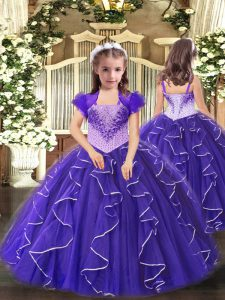 Purple Lace Up Straps Beading and Ruffles Little Girl Pageant Gowns Organza Sleeveless