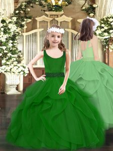 Dark Green Zipper Little Girls Pageant Dress Beading and Ruffles Sleeveless Floor Length