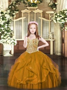 Brown Sleeveless Floor Length Beading and Ruffles Lace Up Pageant Gowns For Girls