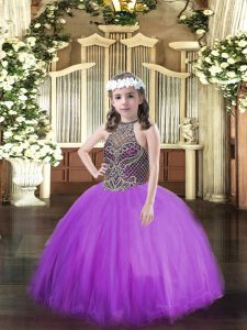 High End Halter Top Sleeveless Lace Up Little Girls Pageant Gowns Eggplant Purple Tulle