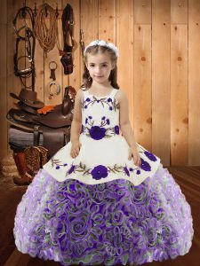 Multi-color Lace Up Straps Embroidery and Ruffles Little Girls Pageant Dress Fabric With Rolling Flowers Sleeveless