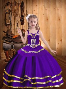 Sleeveless Floor Length Embroidery and Ruffled Layers Lace Up Pageant Dress for Teens with Purple