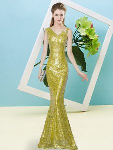 Nice Yellow High School Pageant Dress Prom and Party with Sequins Asymmetric Sleeveless Zipper