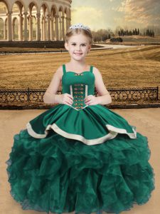 Nice Floor Length Lace Up Pageant Gowns For Girls Turquoise for Sweet 16 and Quinceanera with Beading and Ruffles