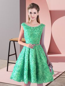 Nice Turquoise Glitz Pageant Dress Prom and Party with Belt Scoop Sleeveless Lace Up