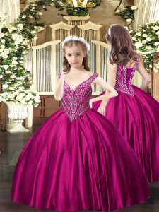 Perfect Fuchsia Lace Up Custom Made Pageant Dress Beading Sleeveless Floor Length