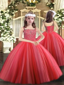 Luxurious Coral Red Sleeveless Beading Floor Length Pageant Dress for Girls