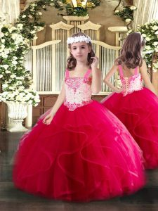 Affordable Straps Sleeveless Tulle Pageant Dress for Womens Beading and Ruffles Lace Up
