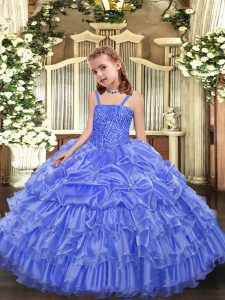 Adorable Floor Length Ball Gowns Sleeveless Lavender Pageant Dress Womens Lace Up