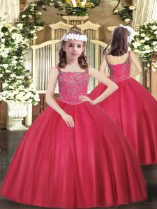Attractive Tulle Sleeveless Floor Length Glitz Pageant Dress and Beading