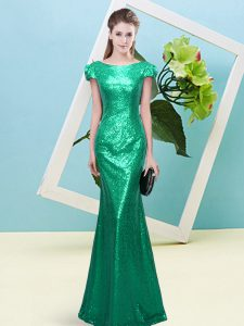 Lovely Sequins Pageant Dress Toddler Turquoise Zipper Cap Sleeves Floor Length