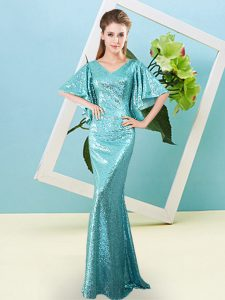 Beauteous Sequined V-neck Half Sleeves Zipper Sequins Pageant Dress Toddler in Aqua Blue