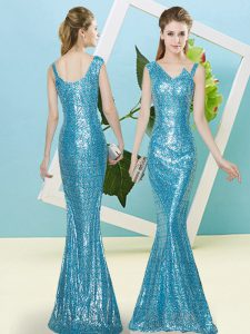 Designer Sequined Sleeveless Floor Length Pageant Dress for Girls and Sequins