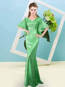 Top Selling Half Sleeves Floor Length Sequins Zipper Pageant Dress for Teens with Green