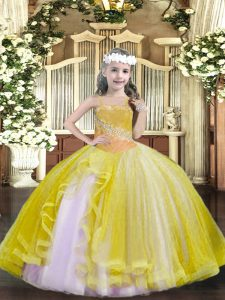 Perfect Light Yellow Sleeveless Floor Length Beading Lace Up Kids Formal Wear