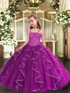 Admirable Floor Length Lace Up Pageant Dress for Womens Purple for Party and Sweet 16 and Quinceanera and Wedding Party with Beading and Ruffles