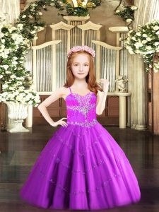 Fashion Sleeveless Lace Up Floor Length Beading Little Girl Pageant Gowns