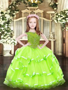 Inexpensive Ball Gowns Pageant Dress for Teens Scoop Organza Sleeveless Floor Length Zipper