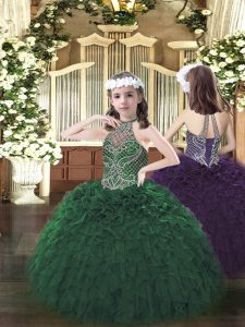 Low Price Dark Green Lace Up Halter Top Beading and Ruffles Pageant Dress for Teens Organza Sleeveless