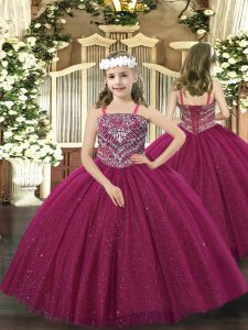 Fuchsia Lace Up Straps Beading Kids Formal Wear Tulle Sleeveless