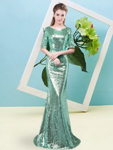Turquoise Half Sleeves Sequined Zipper High School Pageant Dress for Prom and Party