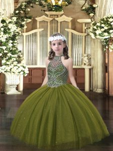 Excellent Floor Length Ball Gowns Sleeveless Olive Green Kids Pageant Dress Lace Up
