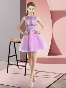 Custom Made Lilac Sleeveless Chiffon Zipper Pageant Dress for Prom and Party