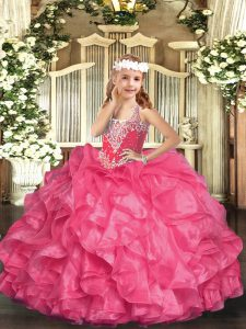 Hot Selling Sleeveless Organza Floor Length Lace Up Pageant Dress in Hot Pink with Beading and Ruffles
