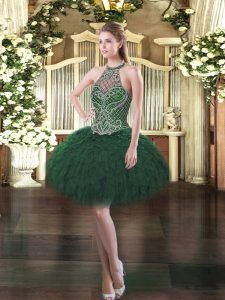 Dark Green Halter Top Neckline Beading and Ruffles Winning Pageant Gowns Sleeveless Lace Up