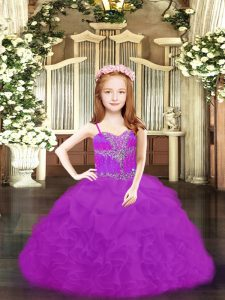 Excellent Sleeveless Organza Floor Length Lace Up Pageant Gowns For Girls in Fuchsia and Purple with Beading and Ruffles and Pick Ups