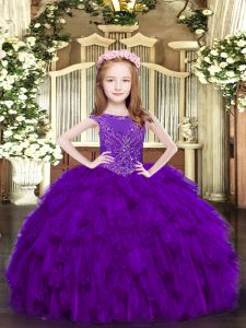 Organza Scoop Sleeveless Zipper Beading and Ruffles Pageant Dress Wholesale in Purple