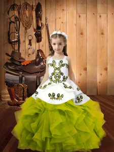 Latest Olive Green Ball Gowns Organza Straps Sleeveless Embroidery and Ruffles Floor Length Lace Up High School Pageant Dress