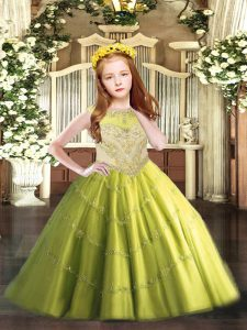 Cheap Floor Length Olive Green Little Girl Pageant Dress Tulle Sleeveless Beading and Appliques
