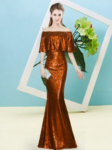 Noble Rust Red Mermaid Sequined Off The Shoulder Half Sleeves Sequins Floor Length Zipper High School Pageant Dress