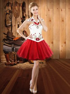 Latest Red Organza Lace Up Pageant Dress for Teens Sleeveless Mini Length Embroidery
