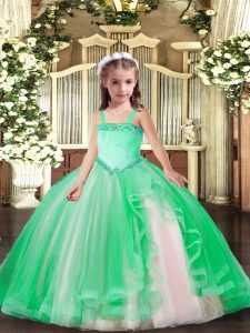 Custom Designed Turquoise Sleeveless Appliques Floor Length Pageant Gowns