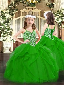 High Class Straps Sleeveless Lace Up Little Girls Pageant Gowns Green Tulle