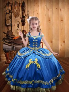 Floor Length Ball Gowns Sleeveless Blue Pageant Gowns Lace Up