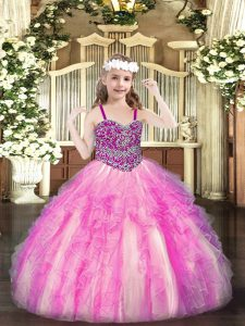 Sleeveless Organza Floor Length Lace Up Little Girls Pageant Dress in Rose Pink with Beading and Ruffles
