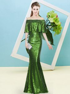 Beautiful Half Sleeves Sequins Zipper Winning Pageant Gowns