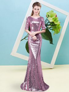 Fuchsia Mermaid Sequined Scoop Half Sleeves Sequins Floor Length Zipper Pageant Dress for Womens